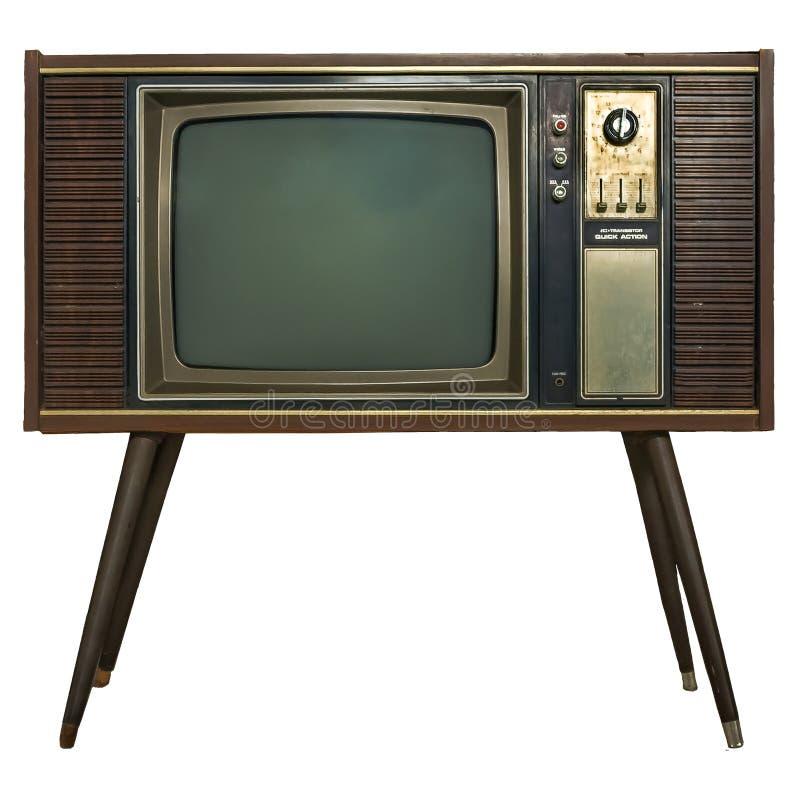 在木内阁的葡萄酒电视 在木内阁的减速火箭的电视 库存照片