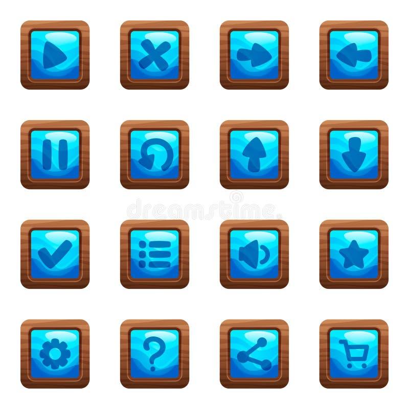 在木制框架动画片传染媒介集合的蓝色方形的按钮 免版税库存图片