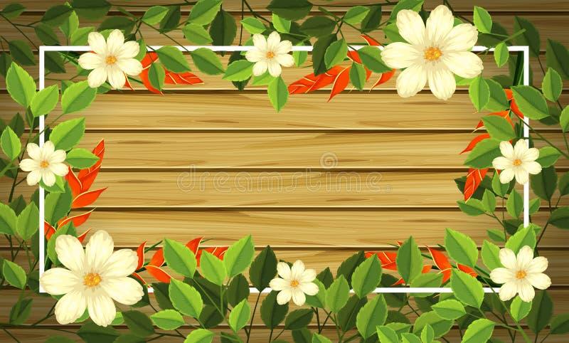 在木制框架的美丽的花 库存例证