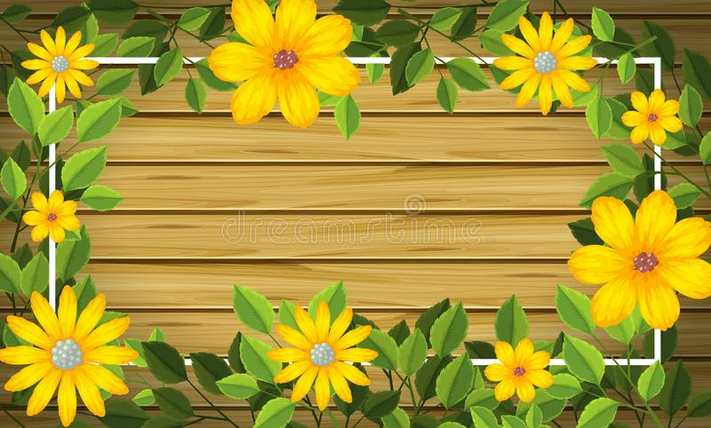 在木制框架的黄色花 向量例证