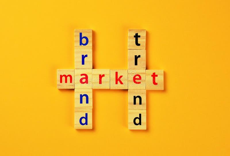 在木刻的品牌、趋向和市场词 免版税库存图片