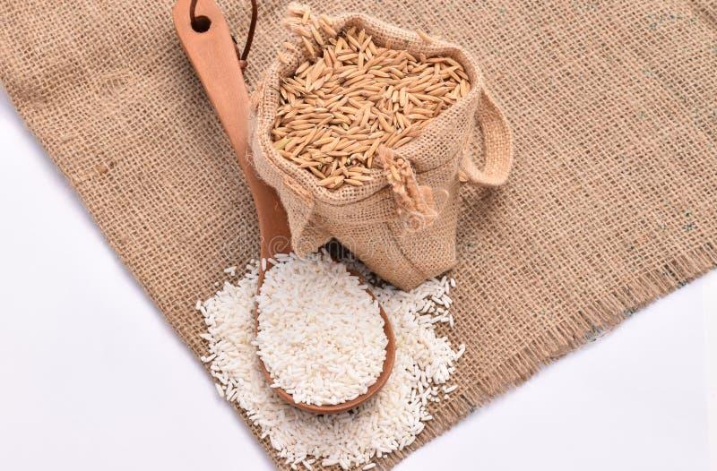 在木匙子和大麻大袋的白色水稻有在白色背景的棕色水稻种子的 免版税图库摄影