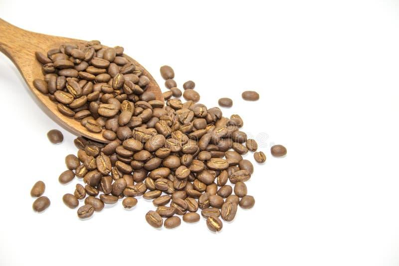 在木匙子的咖啡豆在白色背景 免版税库存图片