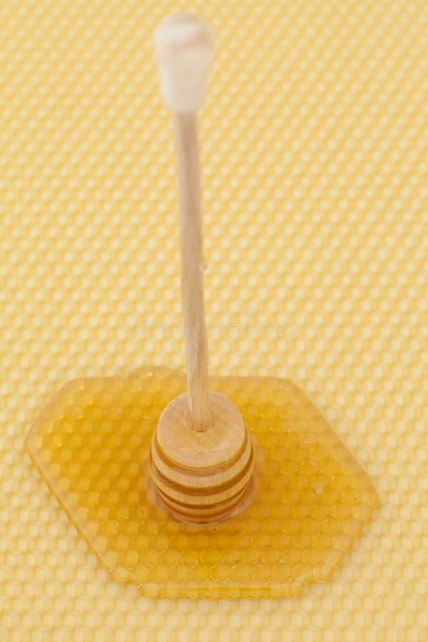 在木匙子的蜂蜜 免版税库存图片