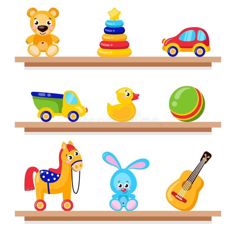 在木商店架子的孩子玩具 包括马,玩具熊,球,求玩具的立方 皇族释放例证