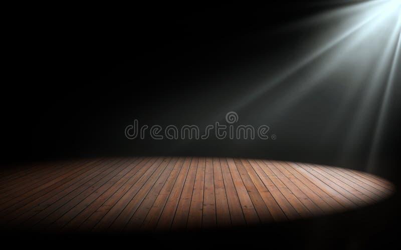 在木地板上的光在空的屋子里 向量例证