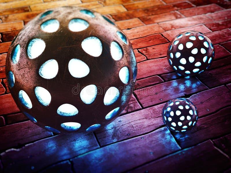 在木地板上的发光的金属球形 向量例证