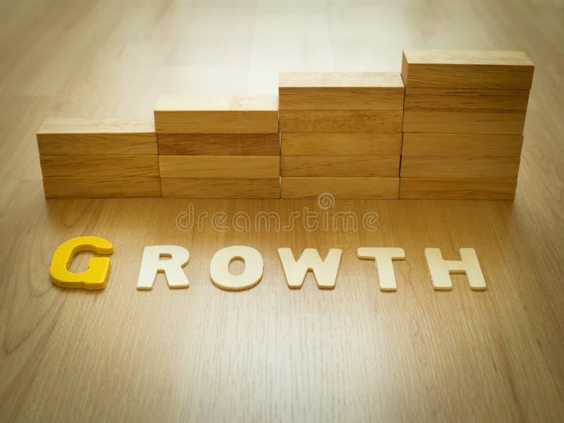 在木地板上的成长词与堆积当步台阶的木刻在背景中 成长成功过程的企业概念 图库摄影