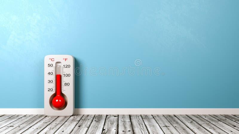 在木地板上的温度计 皇族释放例证