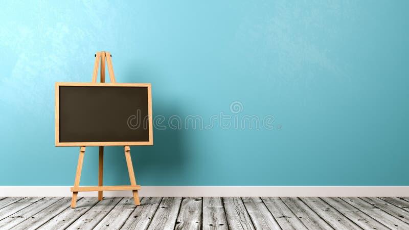 在木地板上的空白的黑板 库存例证