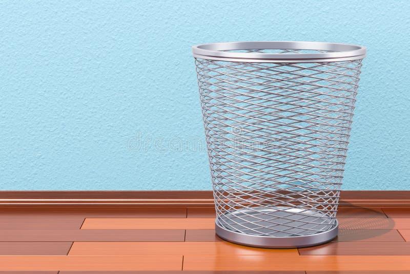 在木地板上的空的金属垃圾桶, 3D翻译 向量例证