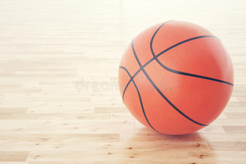 在木地板上的篮球球,与景深作用 3d翻译 免版税图库摄影