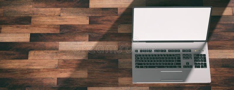 在木地板上的膝上型计算机与白色屏幕 3d例证 库存例证