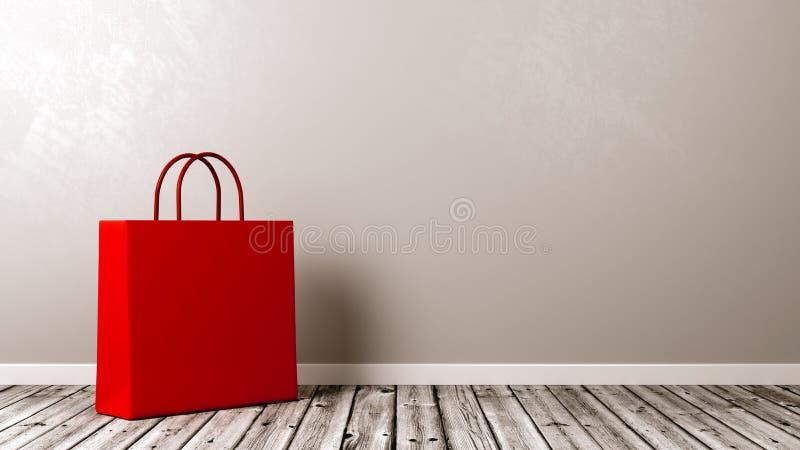 在木地板上的购物袋 向量例证