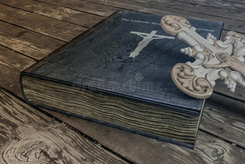 在木地板上的驱邪书 免版税库存图片