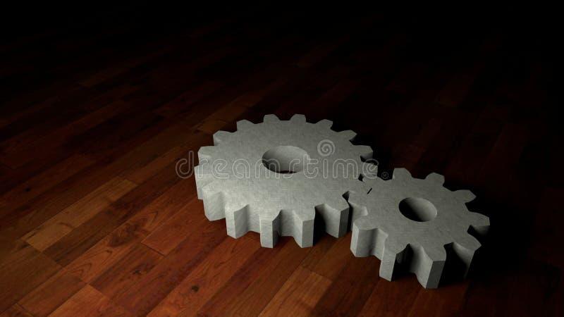 在木地板上的齿轮 免版税库存图片