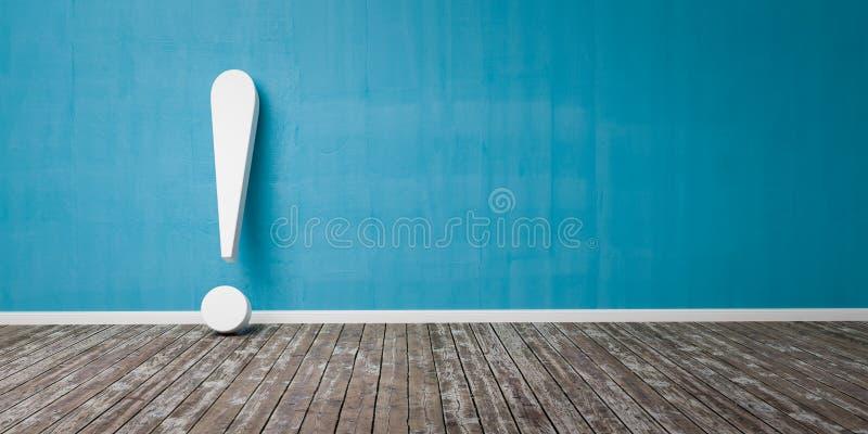 在木地板和混凝土墙3D例证警告概念的白色惊叹号 库存例证