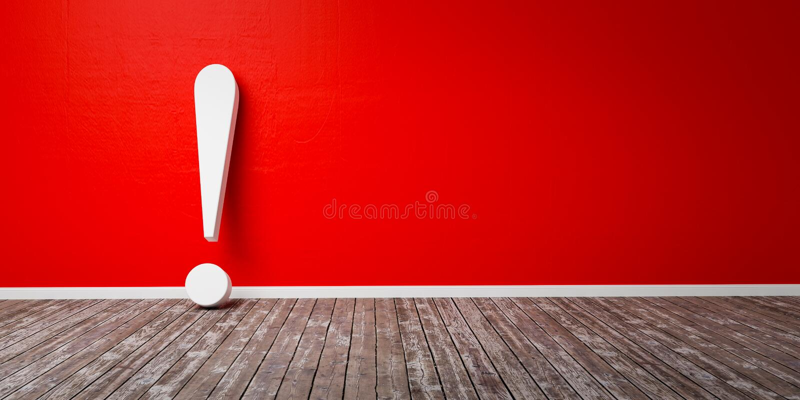 在木地板和混凝土墙3D例证警告概念的白色惊叹号 皇族释放例证