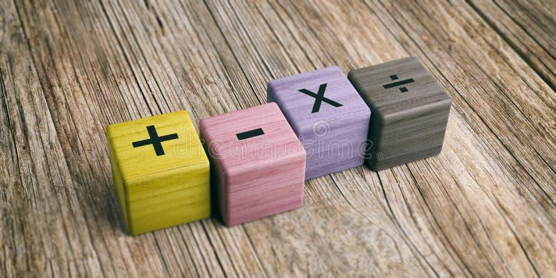 在木块的算术标志 3d例证 皇族释放例证