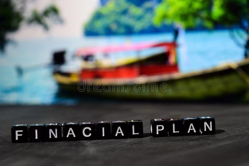 在木块的财政计划 企业和财务概念 免版税图库摄影
