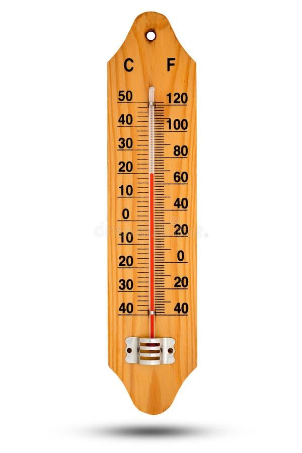在木基地的温度计与摄氏温标 您的des的象 库存照片