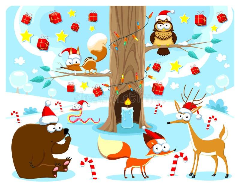 在木头的圣诞节。 向量例证