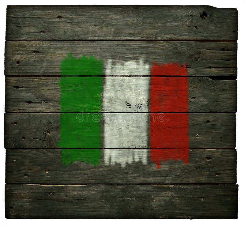 在木头的意大利旗子 免版税图库摄影