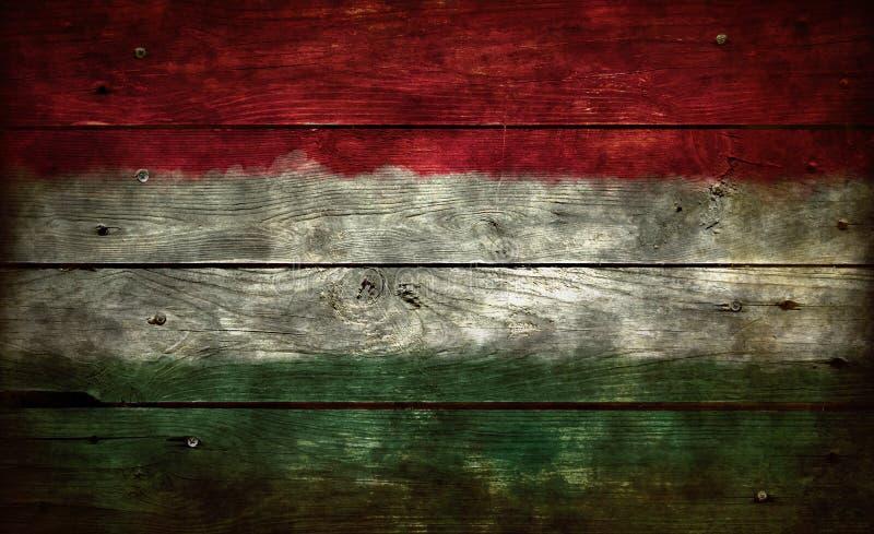 在木头的旗子匈牙利 免版税图库摄影