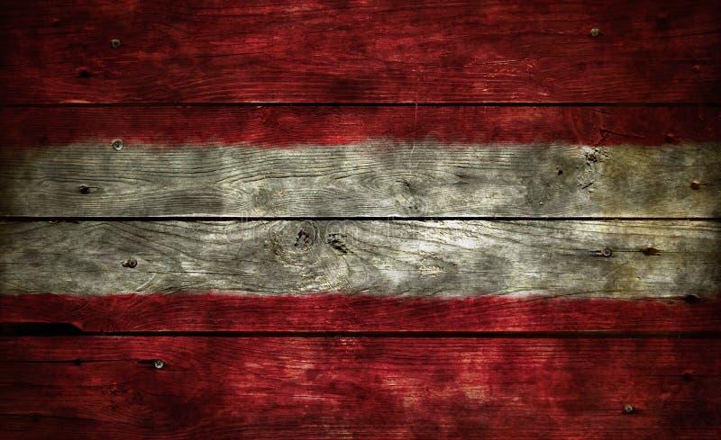 在木头的旗子奥地利 免版税库存图片