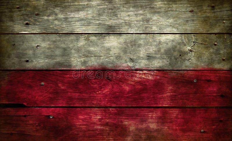 在木头的旗子波兰 库存照片