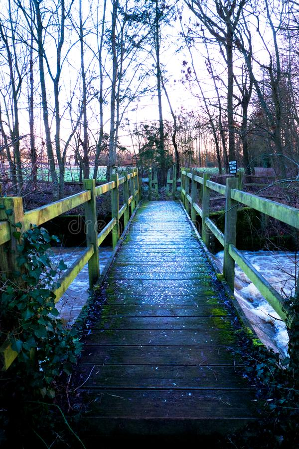 在木头的木脚桥梁在河,雪层数在Th的 免版税图库摄影