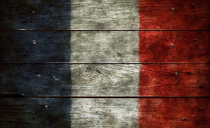在木头的法国旗子 库存图片
