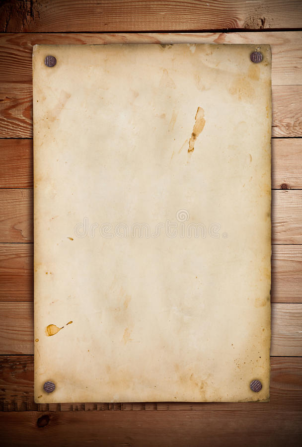 在木头的老纸张 向量例证