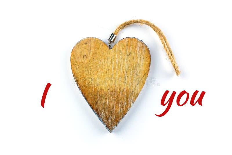 在木头的装饰心脏 库存照片