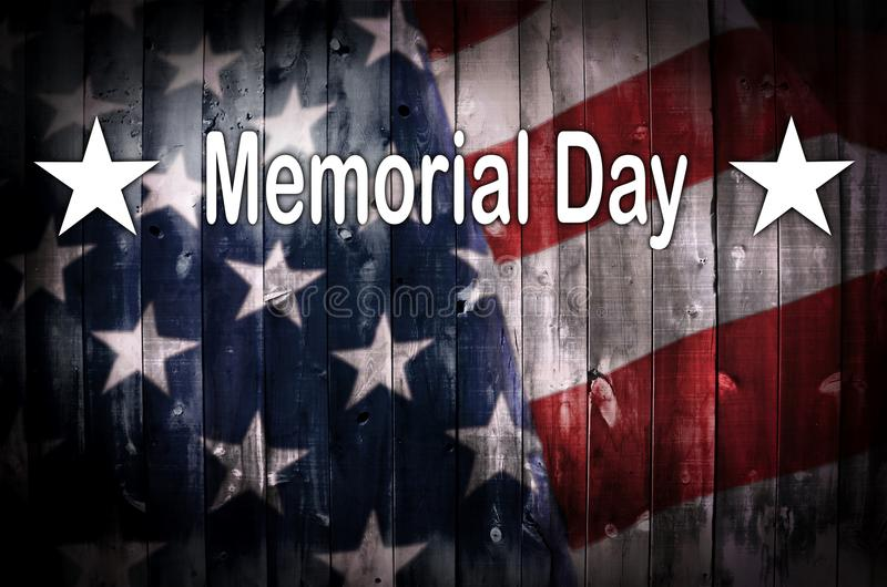 在木头的阵亡将士纪念日美国国旗 向量例证