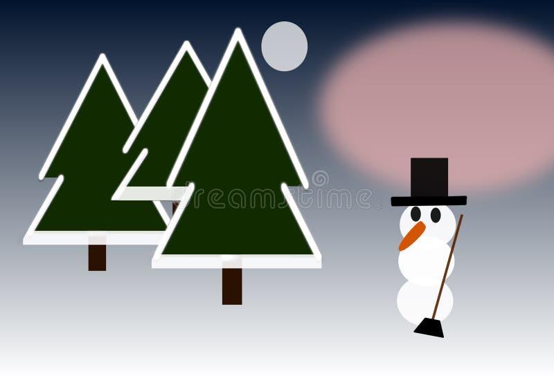 在木头的雪人在月光和日落之间 皇族释放例证