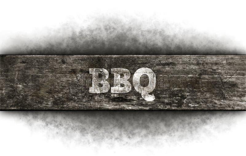 在木头的Bbq文本 免版税库存图片