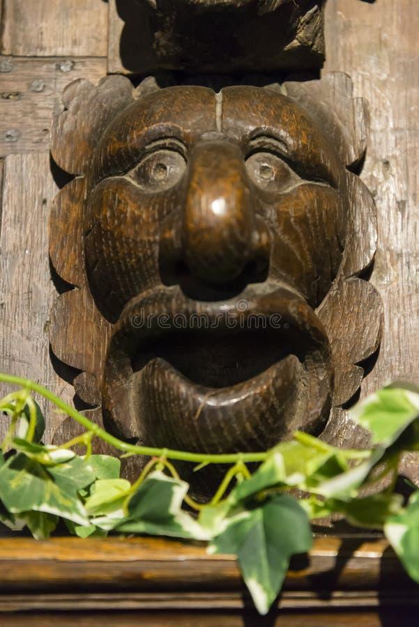 在木头雕刻的动物头,罗切斯特,肯特,英国,英国 免版税库存照片