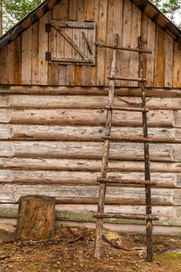 在木小屋墙壁的梯子  免版税库存照片