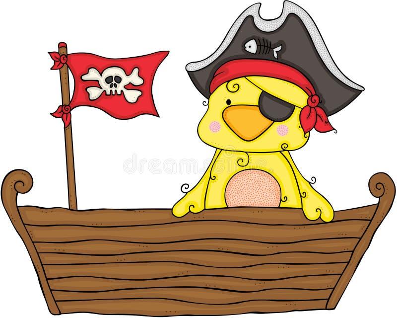 在木小船的逗人喜爱的黄色鸟pirata 库存例证