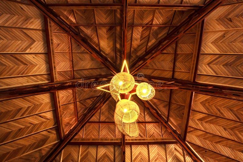 在木屋顶的灯 库存图片