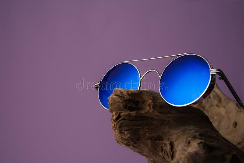 在木日志的蓝色镜子太阳镜 免版税库存图片