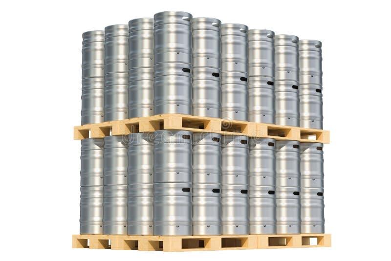 在木板台, 3D的啤酒金属小桶翻译 皇族释放例证