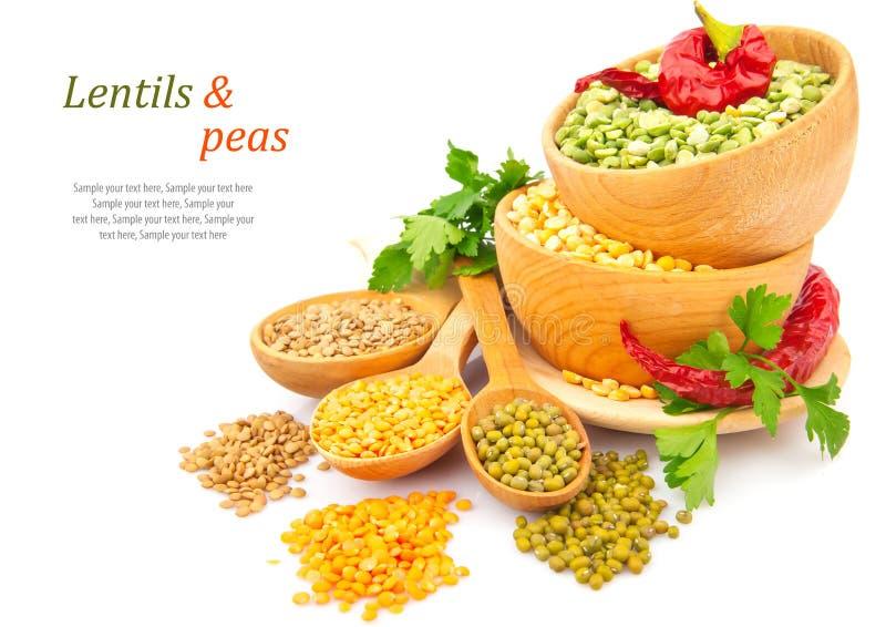 在木板材的扁豆豆有香料食物照片的 库存图片