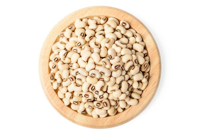 在木板材的白色豇豆豆 免版税库存照片