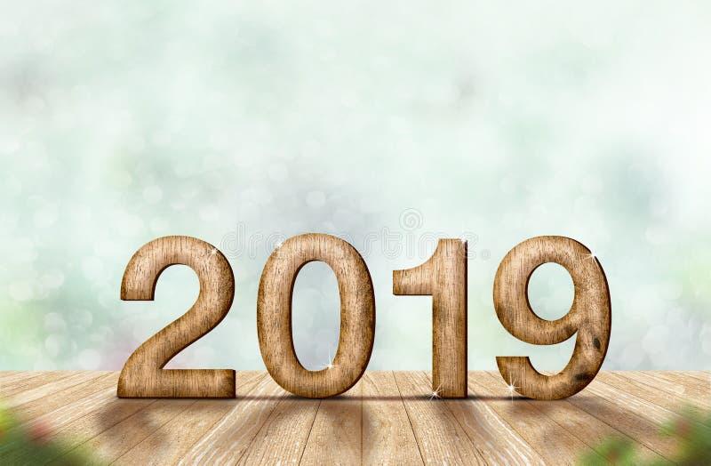 在木板条桌a上的新年2019木数字3d翻译 图库摄影