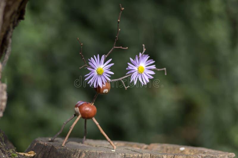 在木树桩的栗子动物,鹿由栗子制成,橡子和枝杈,绿色在鹿角的背景紫罗兰色花 免版税库存照片