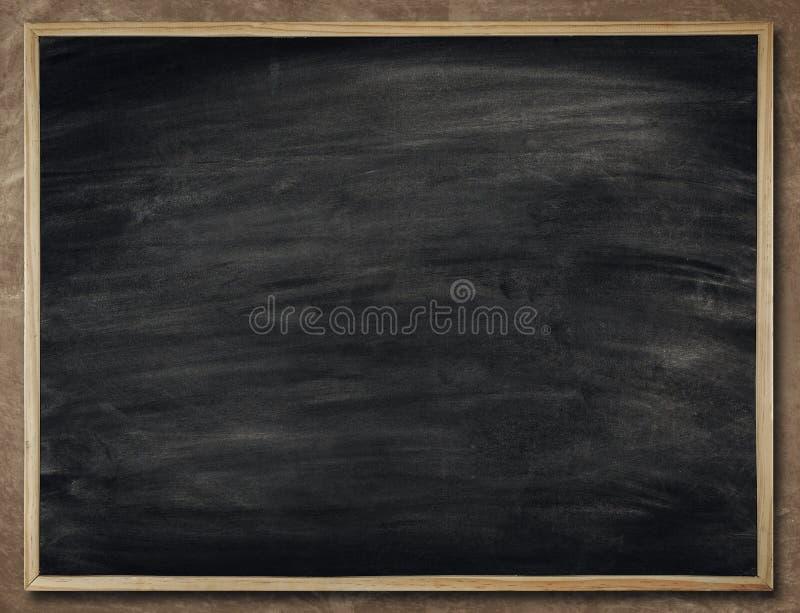 在木框架,空白的黑板墙壁, Scho的黑板背景 免版税库存照片