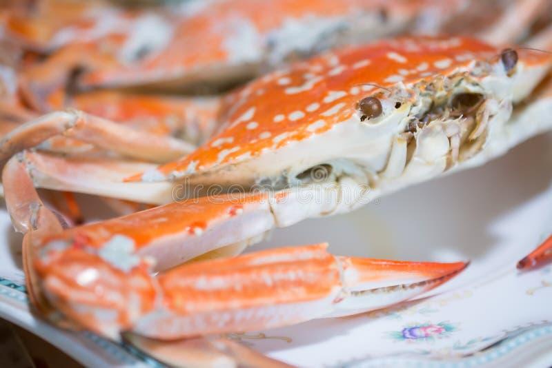 在木桌上准备的大螃蟹 免版税库存照片