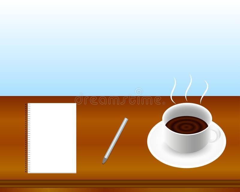 在木桌上的咖啡杯、笔记本和银笔 向量例证